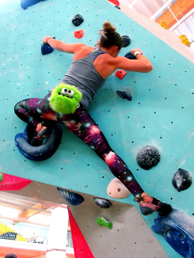 Daniela Schmidt climbing with Green Five Toothed Monster Funny Rock Climbing Chalk Bag by Craftic Climbing