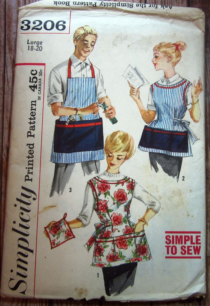 Vintage 1960s Easy to Sew Misses and Mens Apron and Pot Holder Size Large 18-20 Simplicity Pattern 3206 UNCUT by TinyHomeTreasures on Etsy https://www.etsy.com/listing/550050289/vintage-1960s-easy-to-sew-misses-and