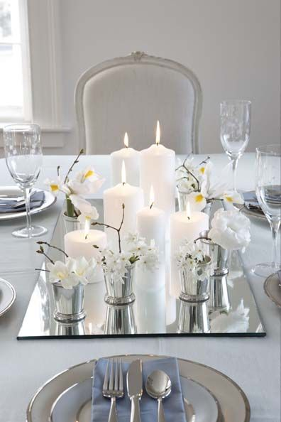 A glamorous winter white tablescape. Photo by Michael Partenio, design by Karin Lidbeck