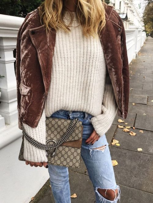 Fall outfit inspiration: velvet jacket, chunky knit sweater, distressed skinny jeans, and Gucci bag.