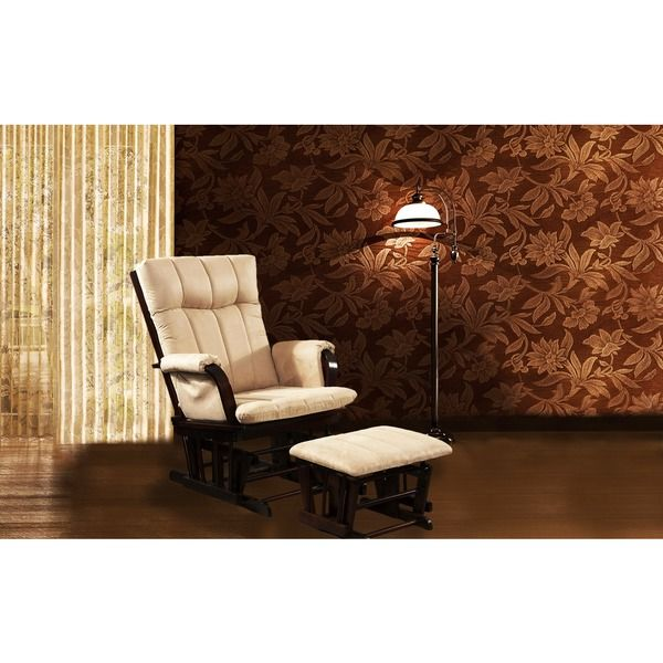 Artiva USA Home Deluxe Mocha Microfiber Cushion Glider Chair And Ottoman  Set   Overstock™ Shopping