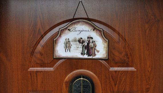 Bonjour panneau de porte signe chic de bienvenue par AgaArtFactory