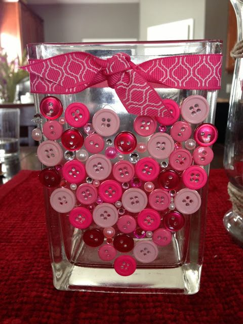 31 Great Valentine Ideas - Project Inspire (The buttons on the vase was probably my favorite of the 31.)