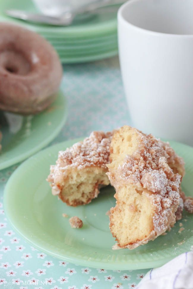 """Homemade Crumb Donuts (Baking a Moment). """"Leave the Entenmann's on the shelf, and try these Homemade Baked Sour Cream Donuts instead...you'll never go back to store bought!"""""""