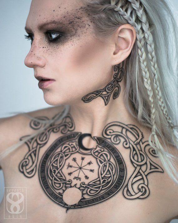 Viking Vegvisir Tattoo Set Etsy Tattoo Set Nordic Tattoo Polynesian Tattoo