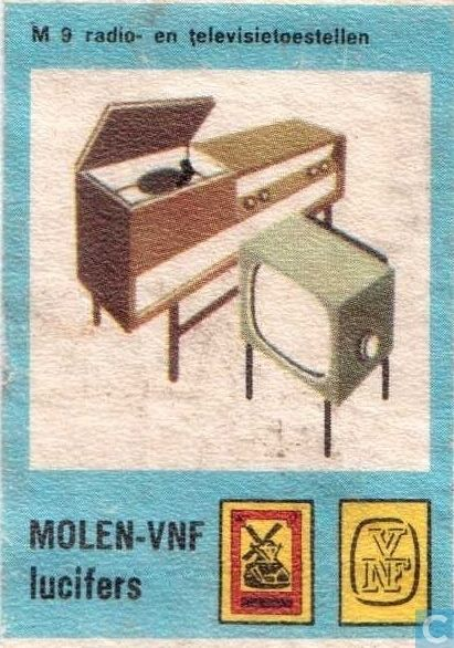 1965 Matchcovers - Molen - Radio en Tv toestellen.