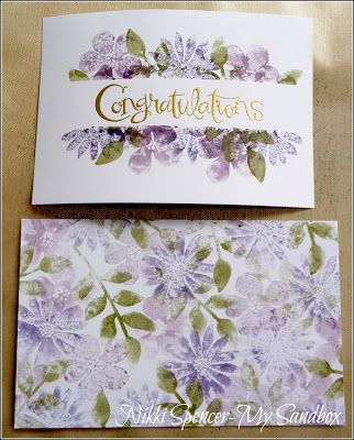 """SU! Technique is """"Teflon craft sheet ink swiping and stamping"""" (instructions on her website); Secret Garden stamp set; colors are Perfect Plum, Elegant Eggplant and Always Artichoke - Nikki Spencer"""