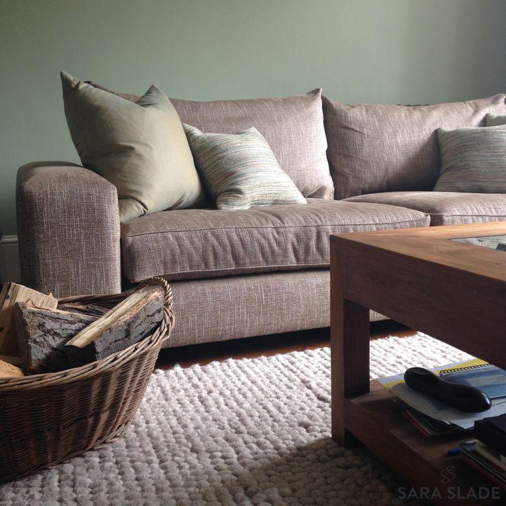 Green Living Room Design by Sara Slade Interiors