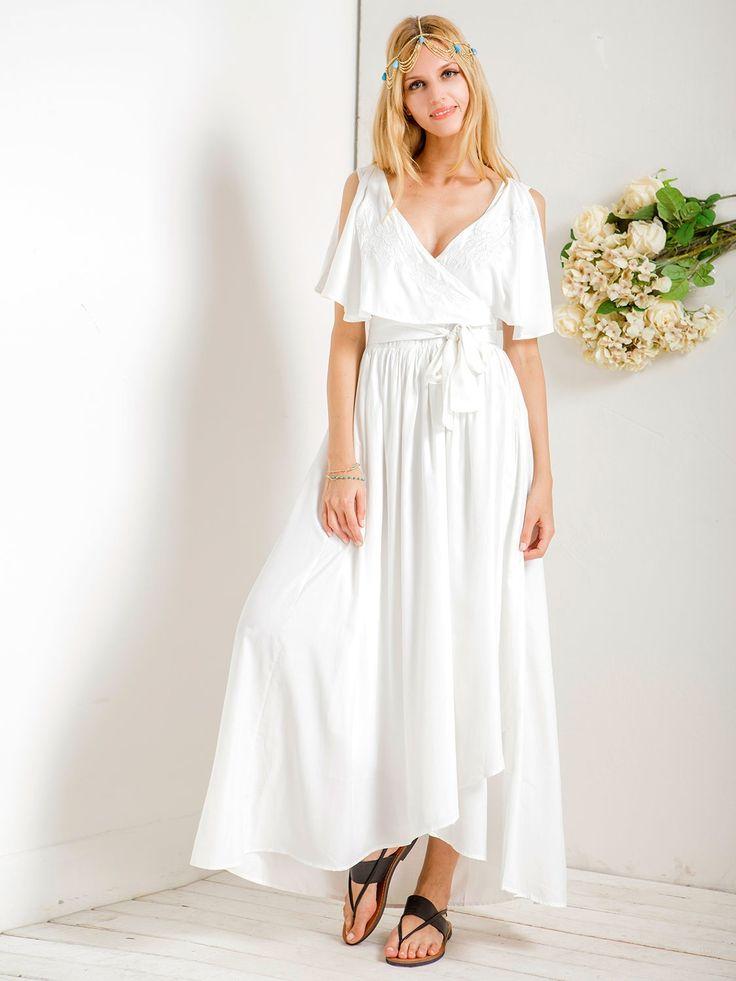 White, Embroidery, V Neck, Ruffle, Sleeveless, Slit, Maxi Dress