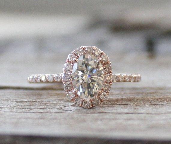 Oval Moissanite Diamond Engagement Ring in 14K Rose by Studio1040, $1950.00