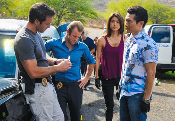 Five-0 (from left to right: Alex O'Loughlin, Scott Caan, Grace Park, Daniel Dae Kim) investigates when a mysterious man targets select p...