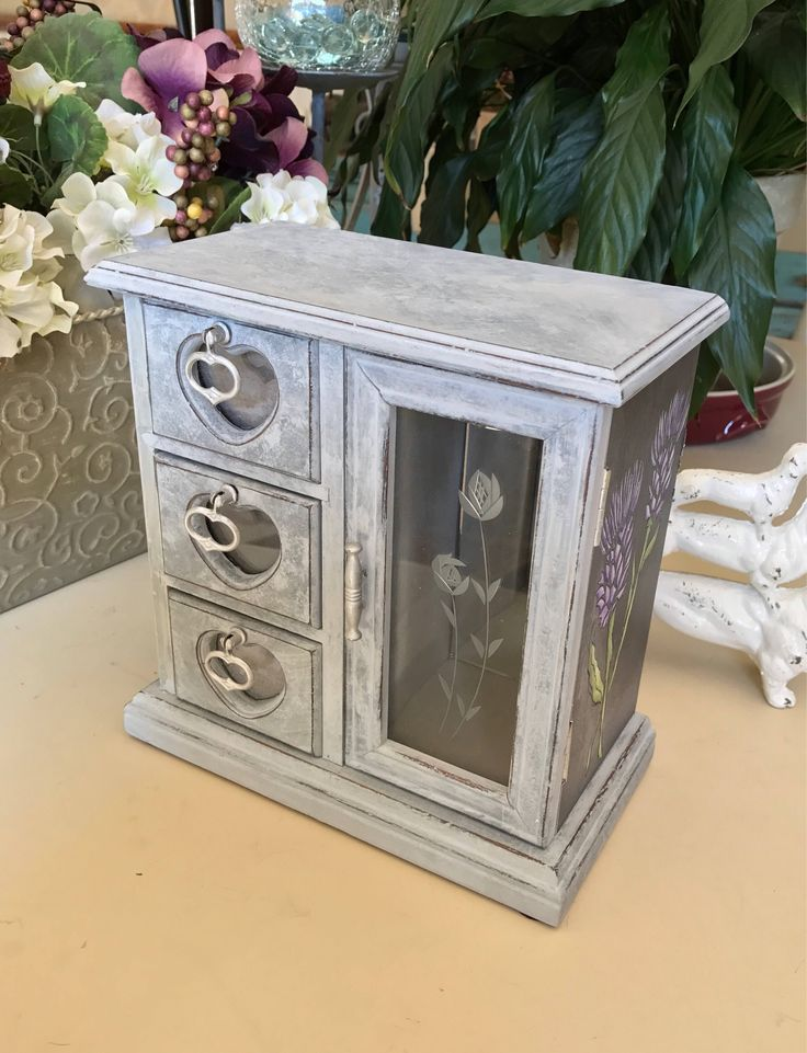 Painted Wooden Jewelry Box / Upcycled Vintage Jewelry Box / OOAK Designer Jewelry Chest by ByeByBirdieDesigns on Etsy https://www.etsy.com/listing/540233777/painted-wooden-jewelry-box-upcycled