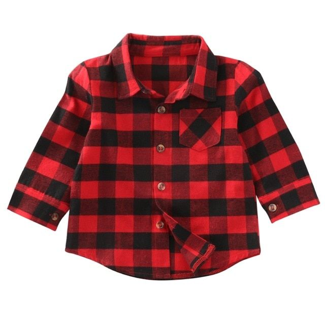cf6c91175 Cool #Baby Kids Boys #Girl Long Sleeve Shirt Checks Plaid #Tops Pocket  #Blouse #Clothes Outfit