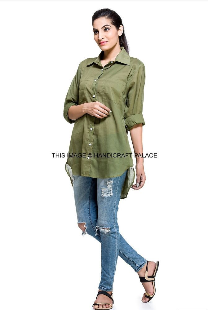 Fashion Womens Ladies Slim Fit Long Sleeve Cotton Casual Summer Shirt Top Blouse…