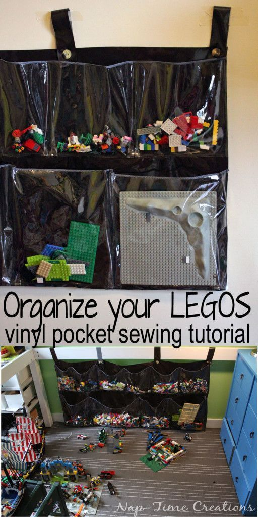 Vinyl LEGO Organizer | Sew your own LEGO organizing pockets with clear vinyl from Nap-Time Creations