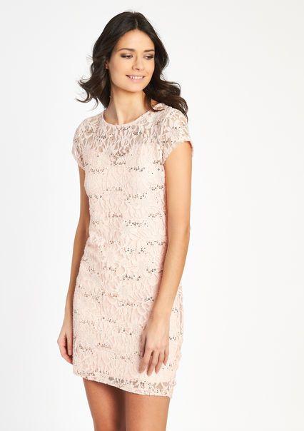 Kanten jurk met korte mouwen en strass,