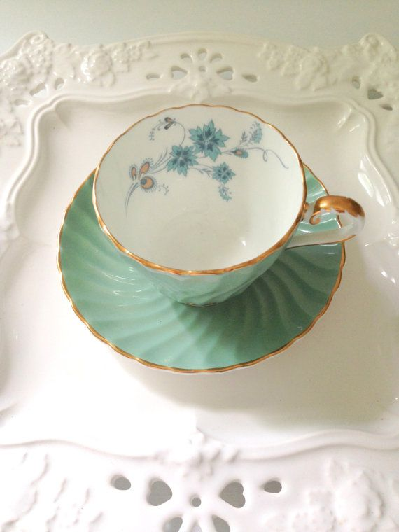 English Bone China Aynsley Tea Cup and Saucer Sage Green Garden Tea Party - c. 1930s