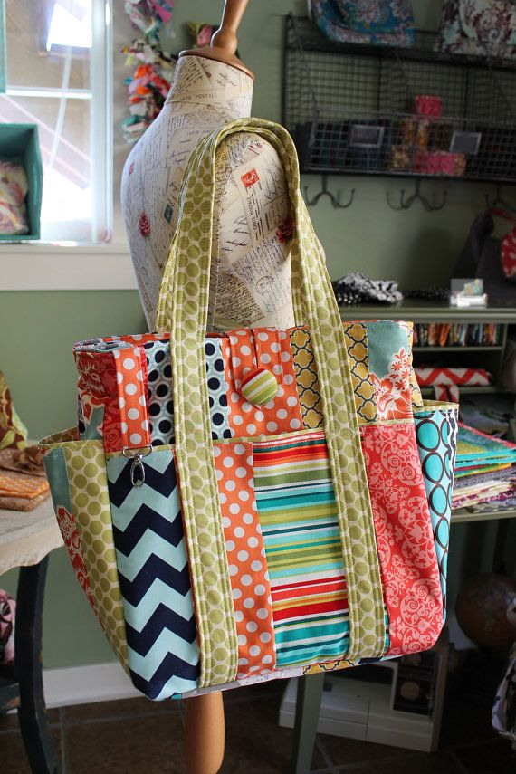 Large Colorful Patchwork Teacher Tote Bag by WatermelonWishes,