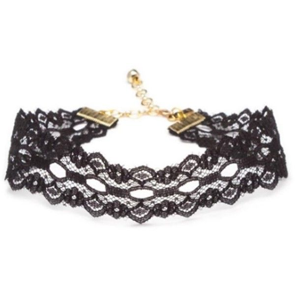 Vanessa Mooney Vanessa Mooney Black Wide Lace Choker (404018301) ($31) ❤ liked on Polyvore featuring jewelry, necklaces, black, choker jewelry, lace choker, thick choker necklace, adjustable necklace and thick necklace
