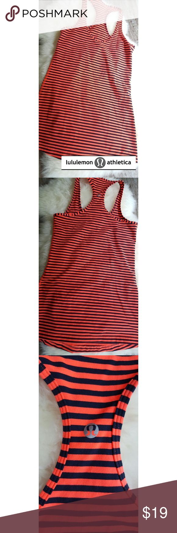 """NWOT LULULEMON COOL RACERBACK TANK Striking tank by popular LULULEMON, this piece features orange and navy stripes with RACERBACK. Logo on center back. *No Size Tag* measurements imply Size XS or XXS but that is not guaranteed. Consult Manufacturer's Size Chart for more info.   ARMPIT TO ARMPIT: 14"""" (not stretched) LENGTH FROM SHOULDER TO HEM: 27.5""""  ALL ITEMS FROM A SMOKE-FREE HOME   BUNDLES RECEIVE A TEN PERCENT DISCOUNT!! lululemon athletica Tops Tank Tops"""