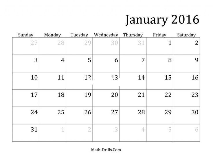 31 day calendar template