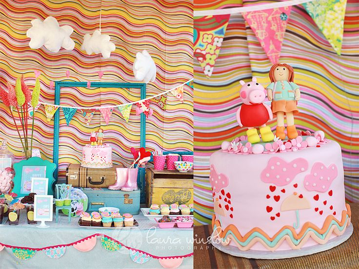 This mom took her daughter's favorite show (British Peppa Pig) and turned it into an adorable theme party. #birthday