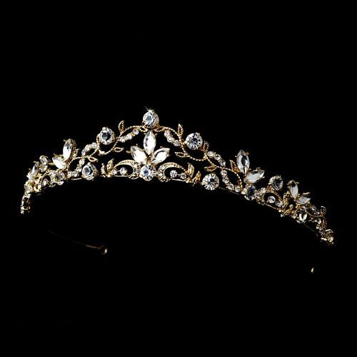 White and Gold Wedding Crown, Bride Tiara. Vintage Victorian Gold Plated Bridal Tiara Rhinestone Crystal Headband Prom 8312 | eBay