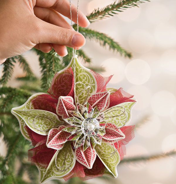 learn how to make this ornament since i dont have a stampin up distributor could use slice for cutting ornaments out of scrapbook paper or plain paper - Paper Christmas Decorations To Make At Home