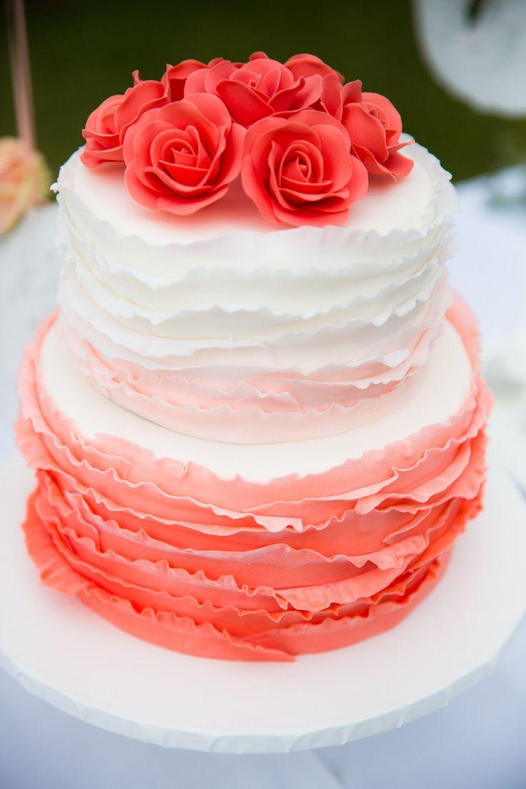 koraal kleurige trouwtaart