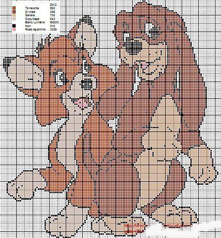 Point de croix *♥*Cross stitch Fox & the Hound