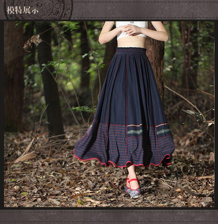 Юбки : Расклешенная юбка с окантовкой, декорированная тесьмой в этническом стиле