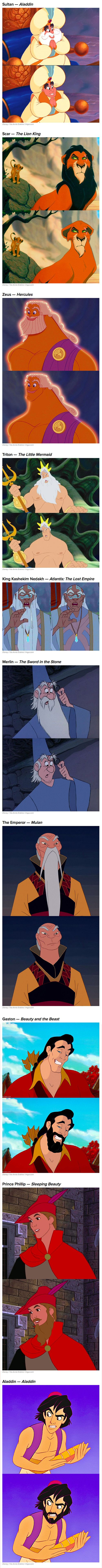 First there were Disney princesses with beards. Now here are the men without. Done by Annie Erskine.