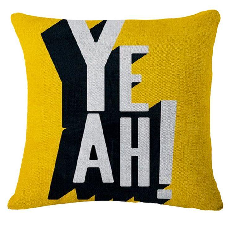 45x45 cm Bawełna Pościel Rzuć Poszewka na poduszkę Cartoon Pufa Żółty Siedzenia Obicia List Dekoracyjne Poduszki Na Kanapie Home Decor b108