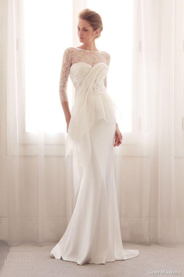 gemy maalouf bridal couture 2014 strapless peplum 3716 skirt long sleeve lace 3717 3042  weddingbrand.com
