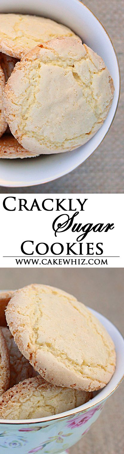 CRACKLY SUGAR COOKIES! These cookies are irresistible with their crinkly, crispy, sugary tops and chewy centers! From cakewhiz.com