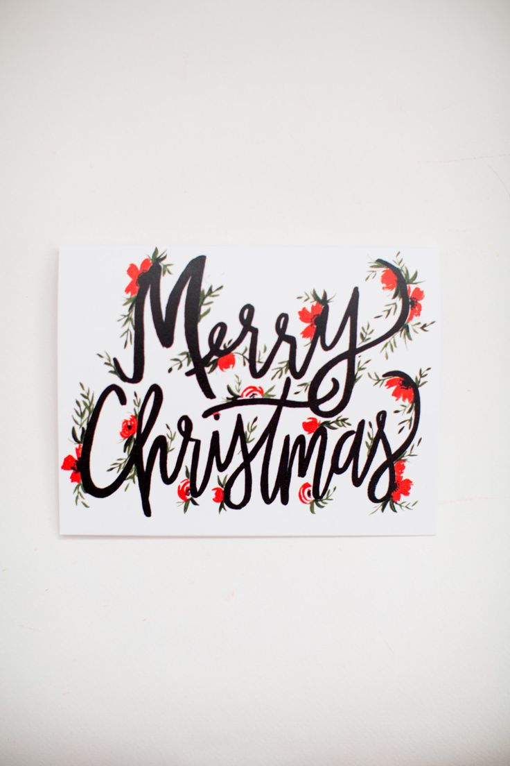Merry Christmas Lettering - Christmas Cards -  Hand Lettering - Greeting Card - A-2 Single Card by ShannonKirsten on Etsy