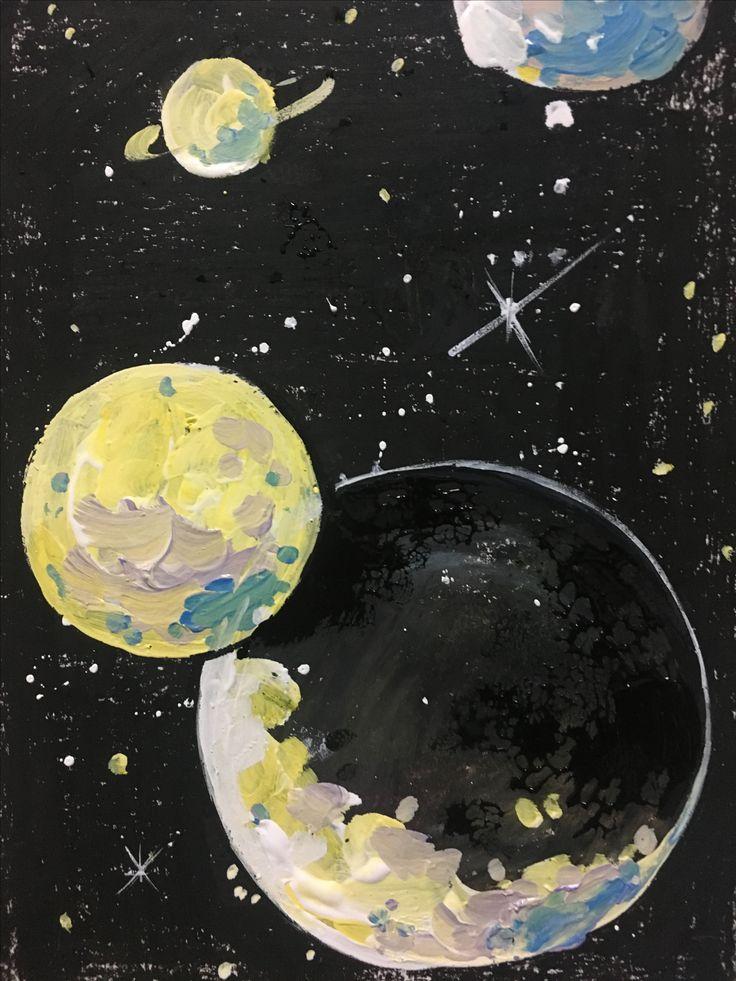 크레파스 아크릴 수채화물감 우주 행성 검정 별 몽환적