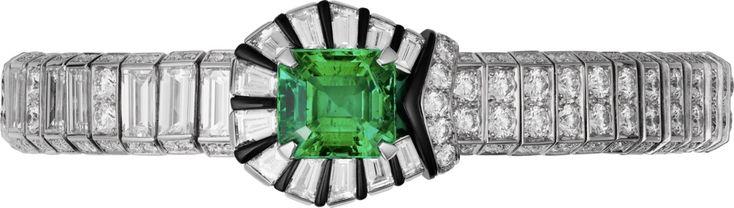 """CARTIER. """"Green Boucle"""" Bracelet - platine, une émeraude de Zambie octogonale de 4,60 carats, onyx, diamants taille baguette, diamants taille brillant. #Cartier #RésonancesDeCartier #2017 #HighJewellery #HauteJoaillerie #FineJewelry #Emerald #Onyx #Diamond"""