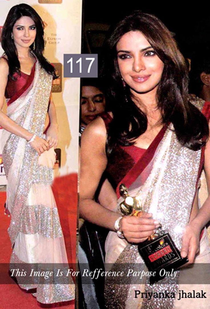 Priyanka Chopra Net Sequins Work Off White Bollywood Designer Saree - 117BS