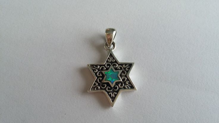 Sterling Silver Star of David with Opal center