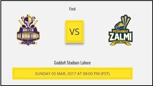 Watch Pakistan Super League T20 PSL 2017 Final Live Streaming Online Free