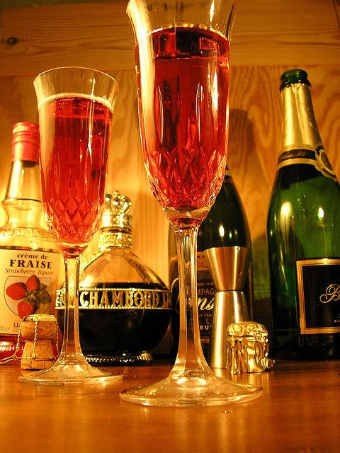 Kir Royale, a popular French drink made with champagne and cremè de cassis, a black current liqueur.