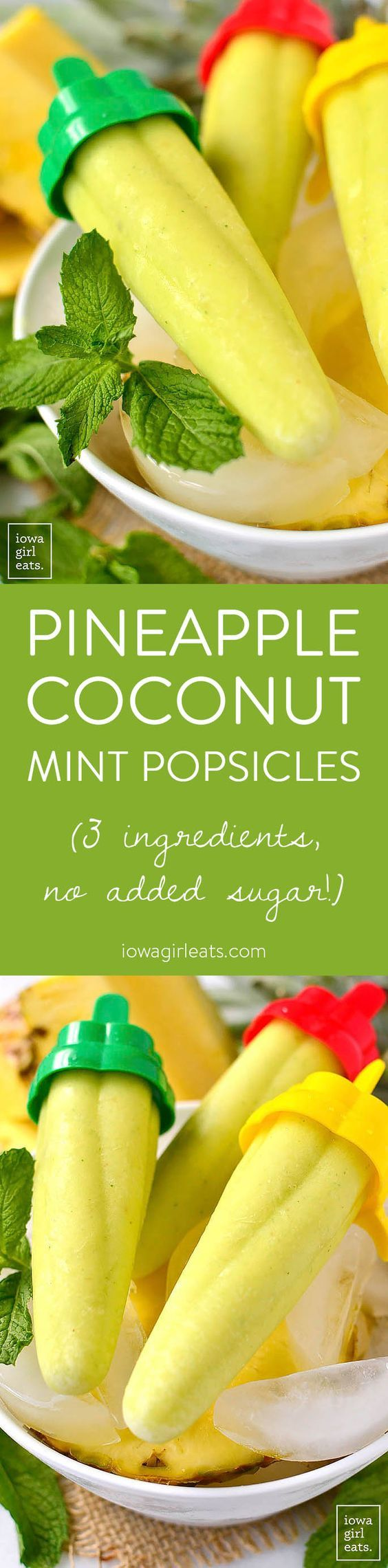 Pineapple Coconut Mint Popsicles are a 3-ingredient, sugar-free popsicle recipe for the hottest of summer days!   iowagirleats.com