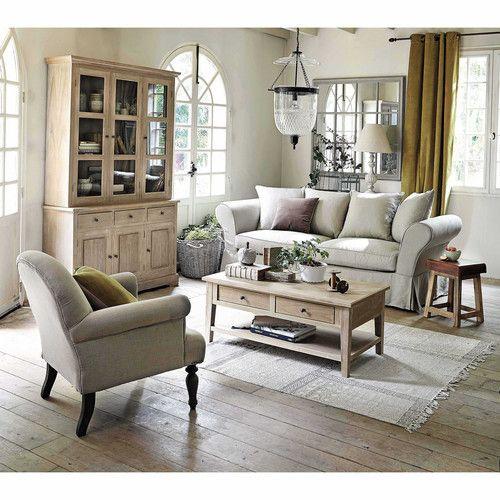 vaisselier 3 portes en bois de paulownia gris l 130 cm. Black Bedroom Furniture Sets. Home Design Ideas