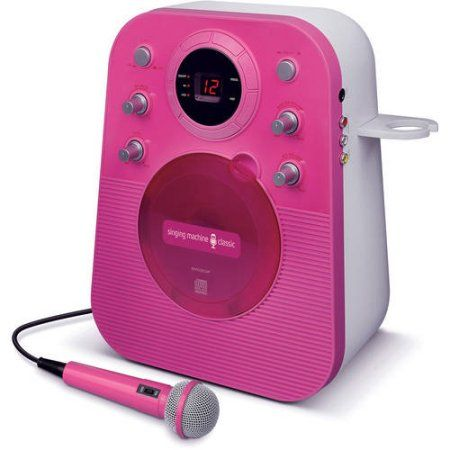 Singing Machine SMG303BK Portable Mini Plug n Play Karaoke CDG Player with Microphone, Pink