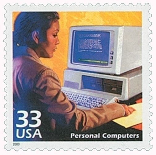 Personal Computers PC Apple IBM Dell HP Honored on 13 Year Old Mint Stamp