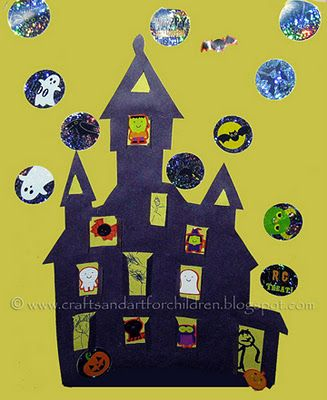 Haunted House Craft with pop open windows