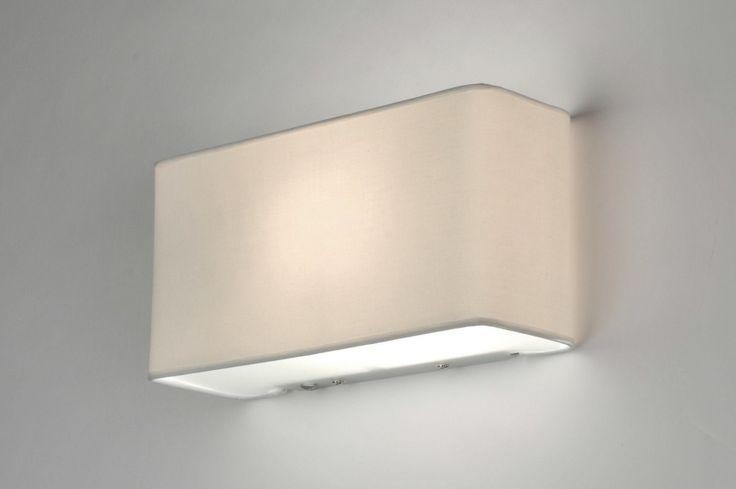 wandlamp 71227: modern, glas, wit opaalglas, metaal, stof, wit, rechthoekig ...