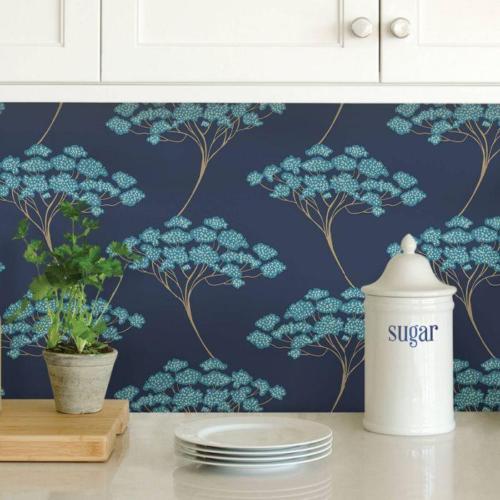 Nuwallpaper Ficus Peel And Stick Wallpaper Blue In 2020 Peel And Stick Wallpaper Wallpaper Samples Nuwallpaper