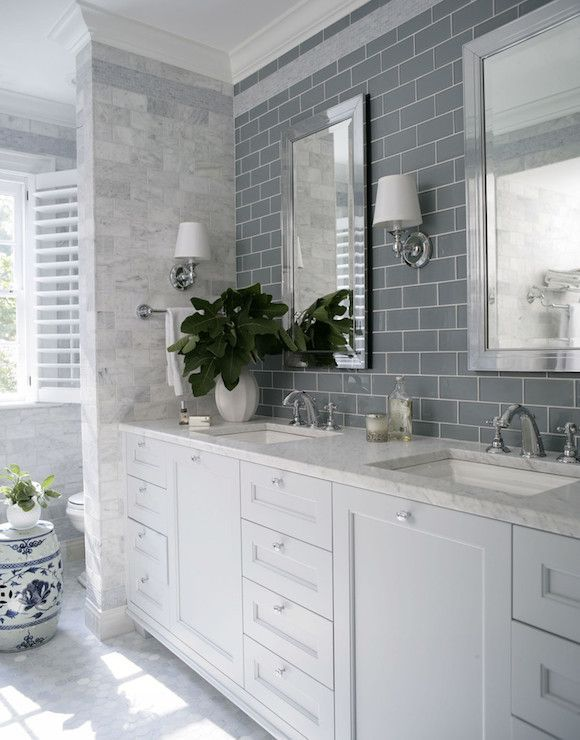 heather garrett design bathrooms gray subway tile gray subway tiled backsplash mirror - Bathroom Subway Tile Backsplash